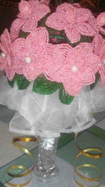 Свадебный букет из бисера купить #4